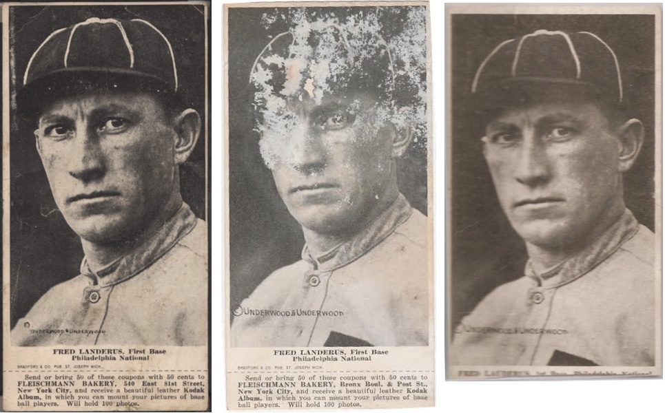 1916 Fleischmann and Ferguson Bakeries D381 Fred Landerus [Luderus] baseball cards
