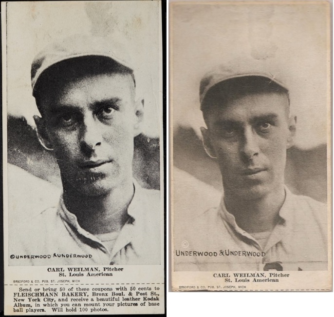 1916 Fleischmann Bakery D381 Carl Weilman - both variations