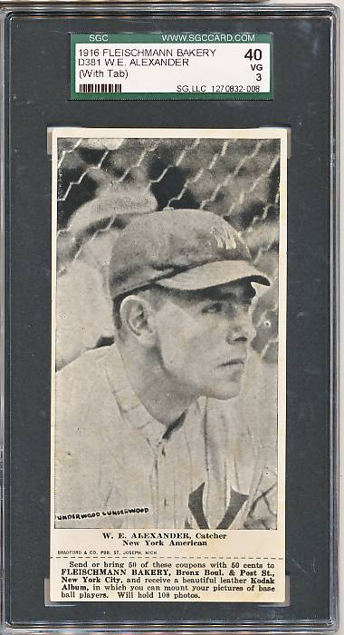 1916 D381 Fleischmann Bakery D381 baseball card of W.E. Alexander, Catcher, New York AL
