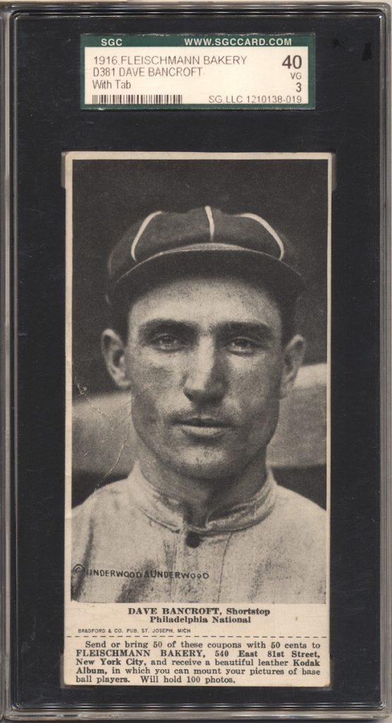 1916 D381 Fleischmann Bakery baseball card of Dave Bancroft, Shortstop, Philadelphia NL. Hall of Famer.