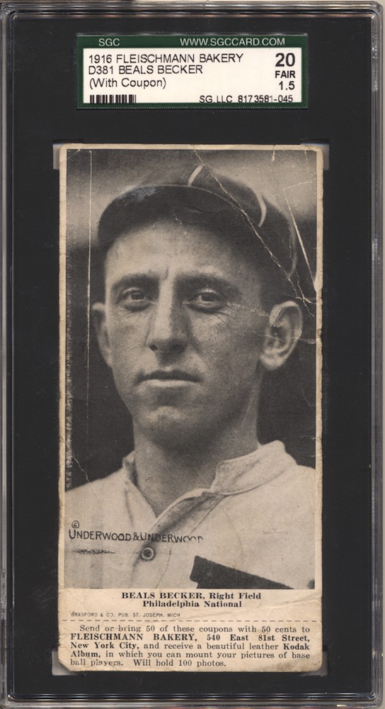 1916 D381 Fleischmann Bakery baseball card of Beals Becker, Right Field, Philadelphia NL