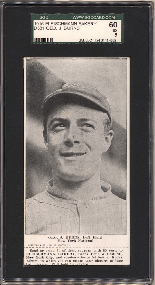1916 D381 Fleischmann Bakery baseball card of Geo. J. Burns, Left Field, New York National