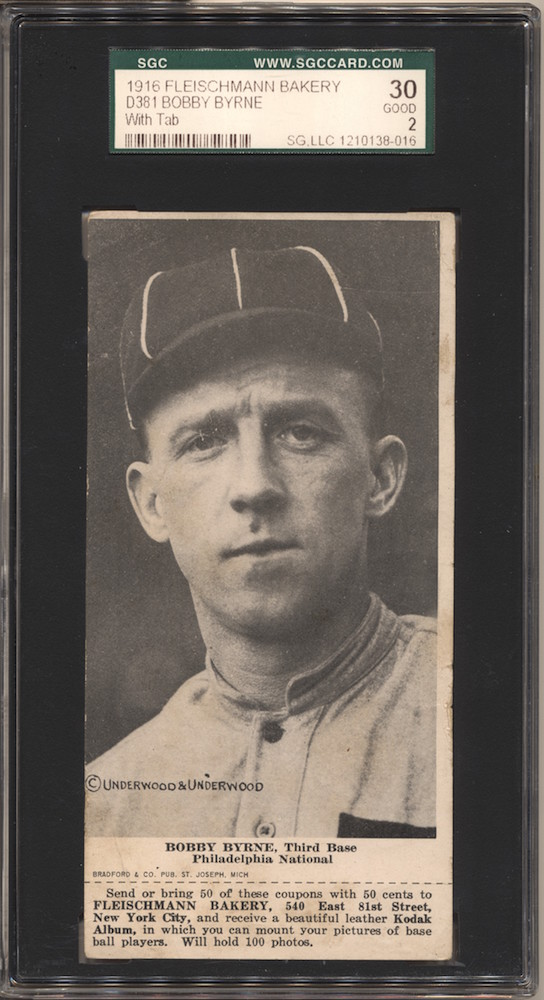 1916 D381 Fleischmann Bakery baseball card of Bobby Byrne, Third Base, Philadelphia NL