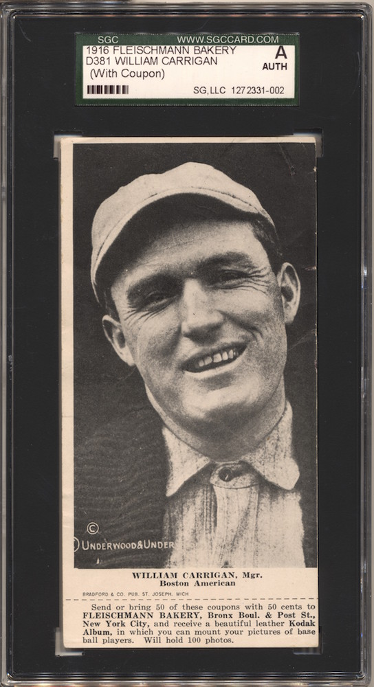 1916 D381 Fleischmann Bakery D381 baseball card of William Carrigan, Mgr., Boston AL