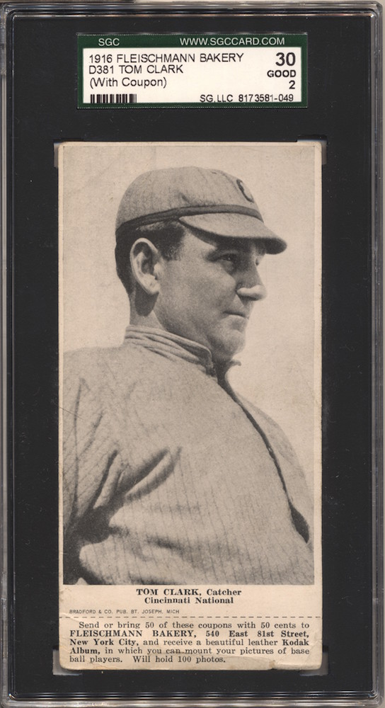 1916 D381 Fleischmann Bakery baseball card of Tom Clark [Clarke], Catcher, Cincinnati NL