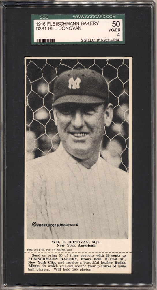 1916 D381 Fleischmann Bakery D381 baseball card of Wm. E. Donovan, New York AL