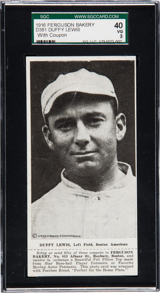 1916 Ferguson Bakery D381 baseball card of Duffy Lewis, Left Field, Boston American. One of only 2 graded Ferguson Bakery cards.