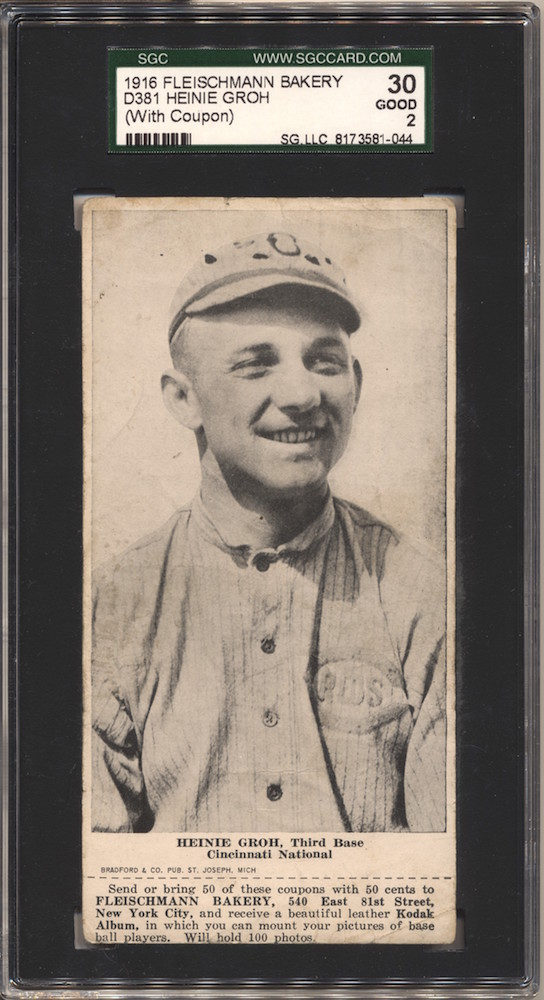 1916 D381 Fleischmann Bakery baseball card of Heinie Groh, Third Base, Cincinnati National
