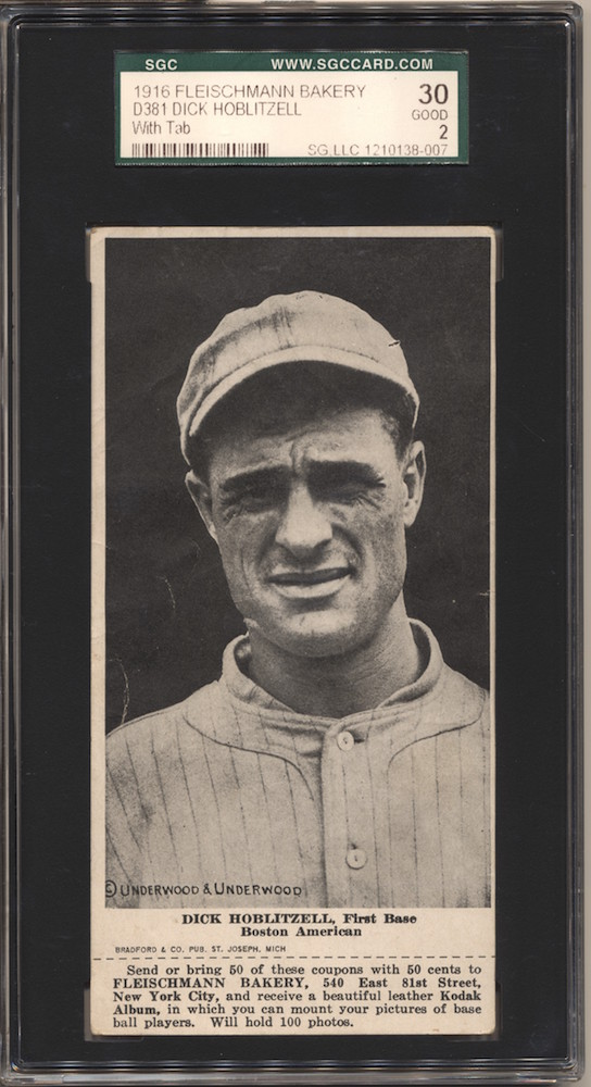 1916 D381 Fleischmann Bakery baseball card of Dick Hoblitzell, Boston American