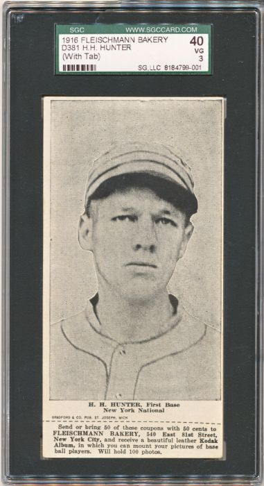 1916 D381 Fleischmann Bakery baseball card of H.H. Hunter, First Base, New York National