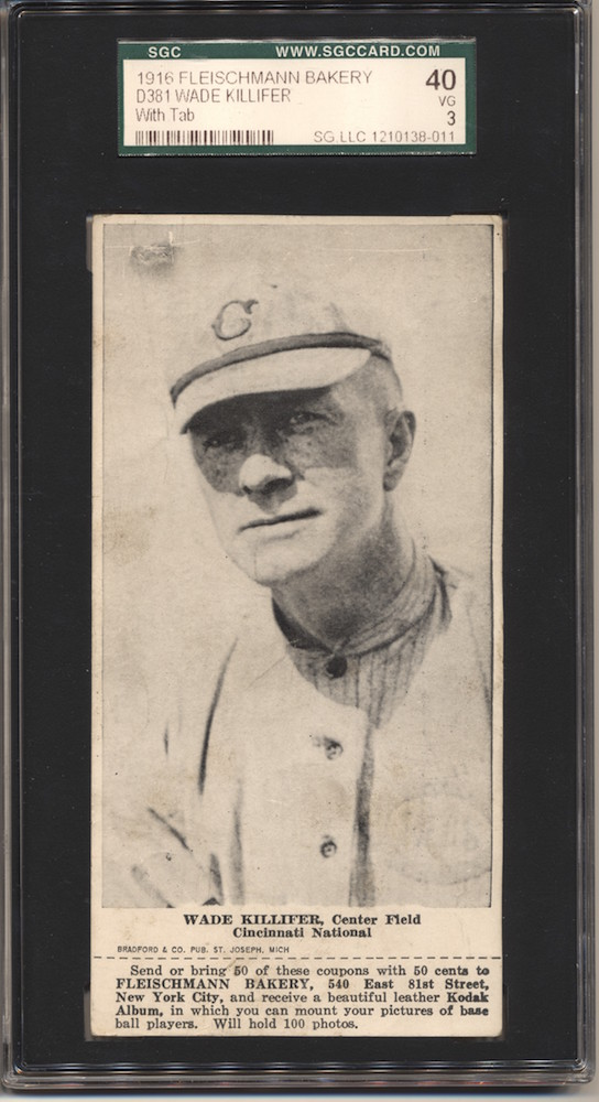 1916 D381 Fleischmann Bakery D381 baseball card of Wade Killifer, Cincinnati National