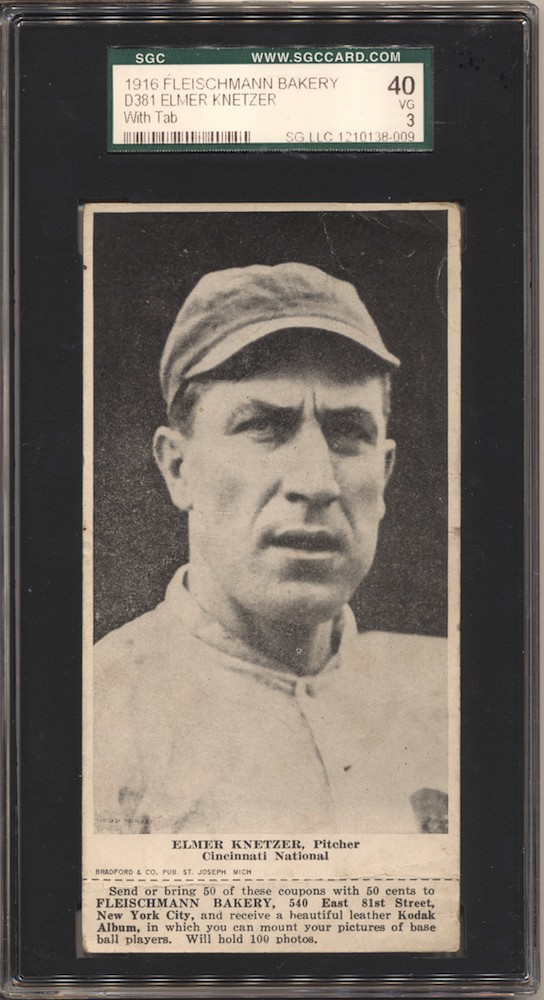 1916 D381 Fleischmann Bakery baseball card of Elmer Knetzer, Cincinnati. Card actually shows Ed Konetchy.