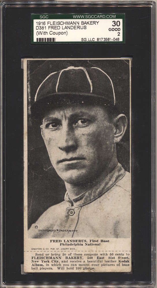 1916 D381 Fleischmann Bakery baseball card of Fred Landerus [Luderus], First Base, Philadelphia National