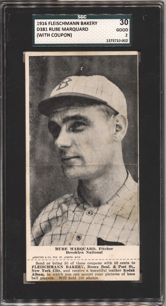 1916 D381 Fleischmann Bakery baseball card of Rube Marquard, Pitcher, Brooklyn