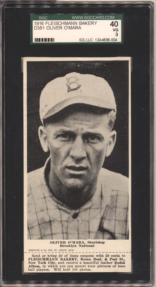 1916 D381 Fleischmann Bakery baseball card of Oliver O'Mara, Shortstop, Brooklyn