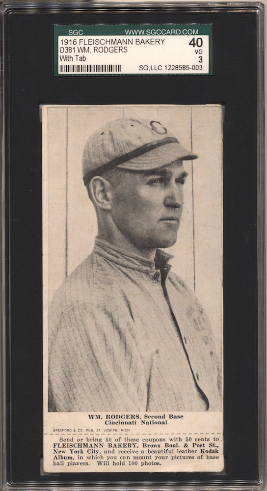 1916 D381 Fleischmann Bakery D381 baseball card of Wm. Rodgers, Second Base, Cincinnati NL
