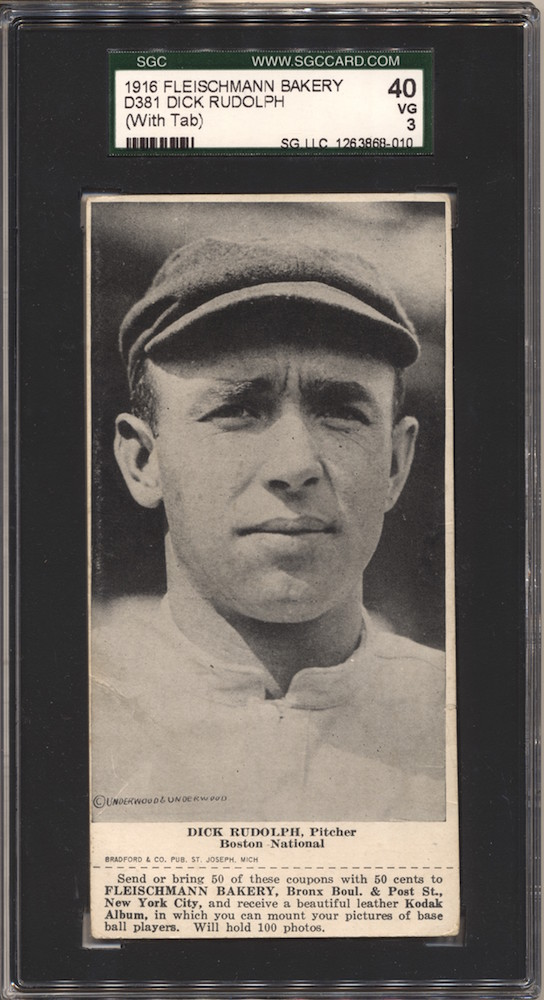 1916 D381 Fleischmann Bakery baseball card of Dick Rudolph, Boston NL