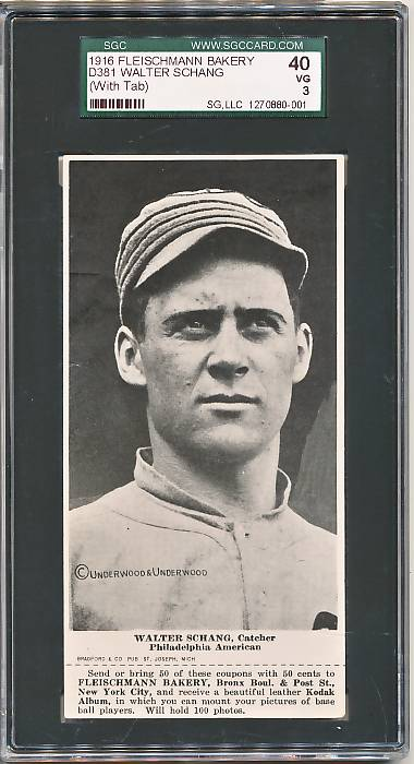 "1916 D381 Fleischmann Bakery D381 baseball card of Walter (""Wally"") Schang, Philadelphia AL"