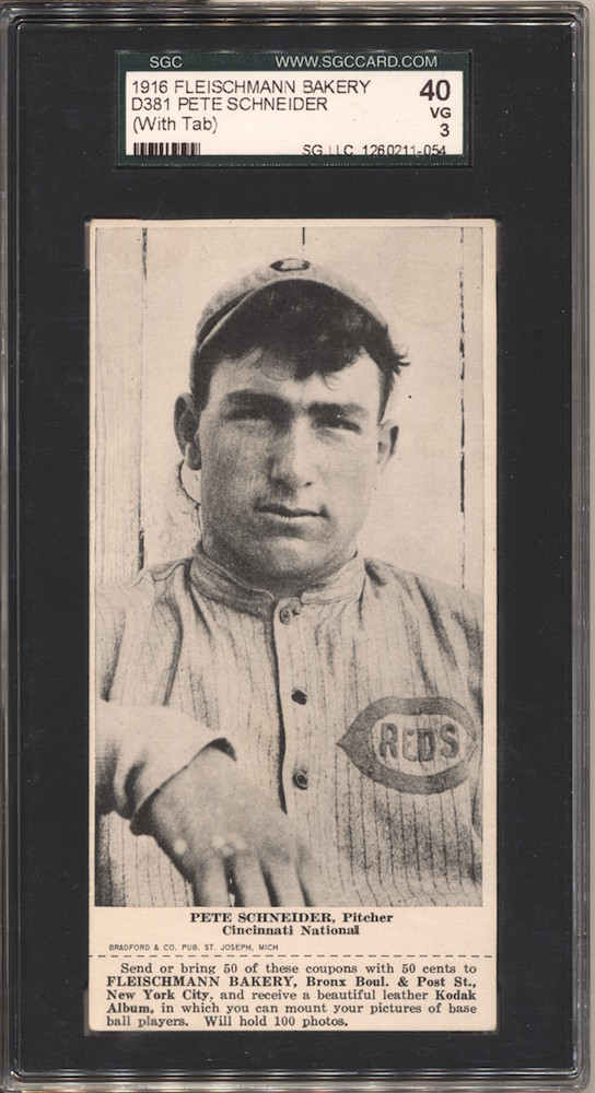 1916 D381 Fleischmann Bakery baseball card of Pete Schneider, Cincinnati NL