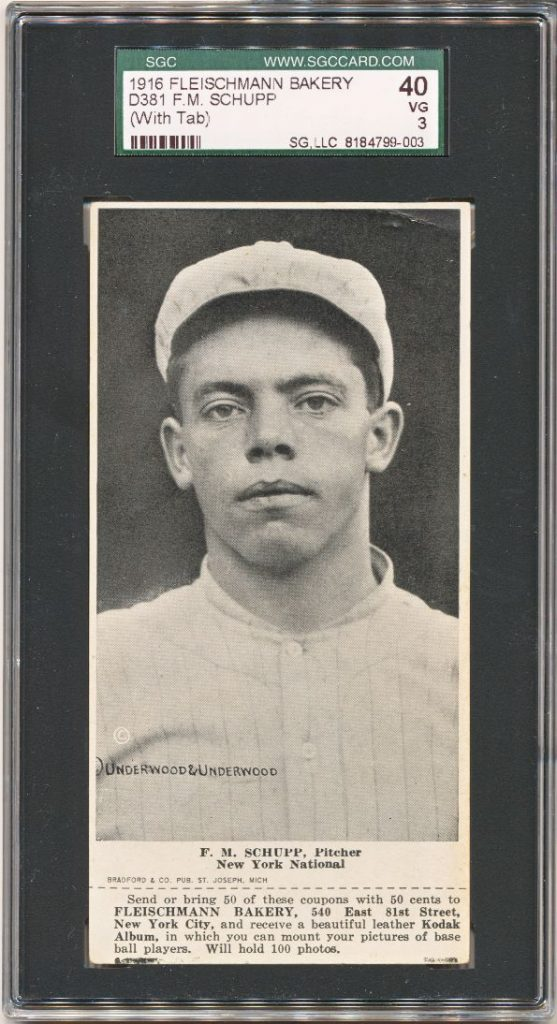 "1916 D381 Fleischmann Bakery baseball card of F.M. Schupp (nicknamed ""Ferdie"")"
