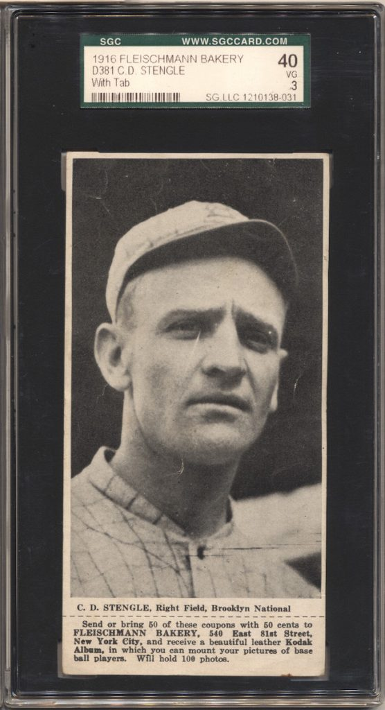 1916 D381 Fleischmann Bakery baseball card of Casey Stengel (last name is misspelled on card)