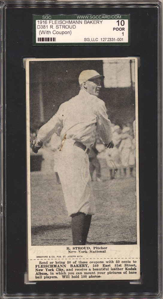 "1916 D381 Fleischmann Bakery baseball card of R. Stroud (nicknamed ""Sailor"")"