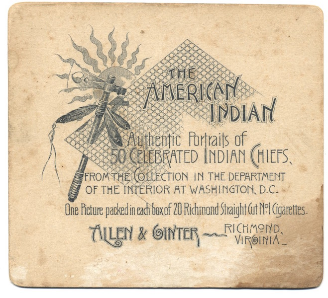 1888 Allen & Ginter American Indians N36 John Yellow Flower (Ute) back