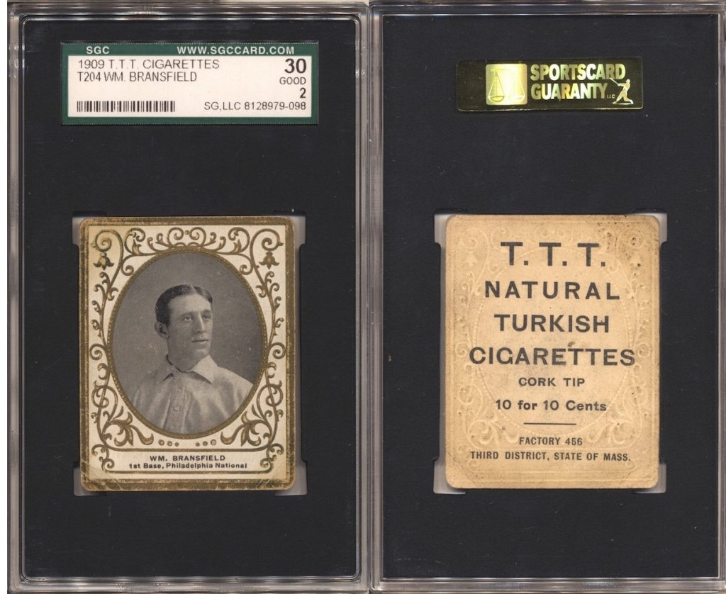 1909 T204 Bransfield (SGC 30) with T.T.T. Turkish Cigarettes back