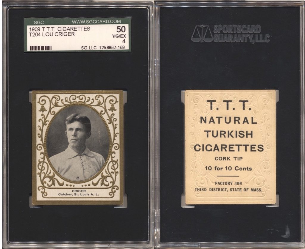 1909 T204 Criger (SGC 50) with T.T.T. Turkish Cigarettes back