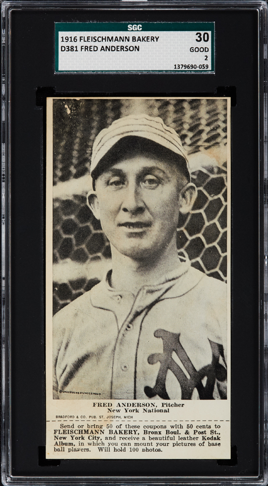 1916 D381 Fleischmann Bakery D381 Fred Anderson, Pitcher, New York National SGC 30