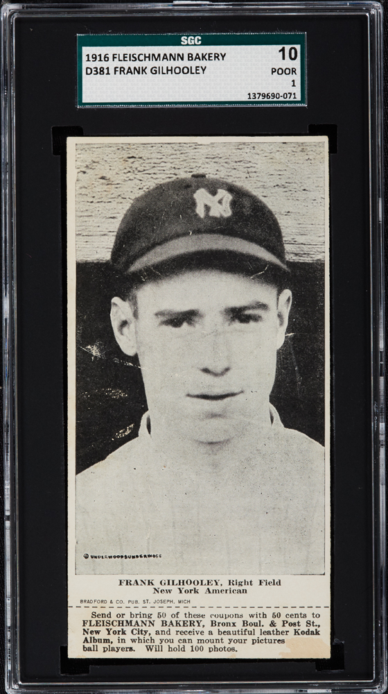 1916 Fleischmann Bakery D381 Frank Gilhooley, Right Field, New York Americans SGC 10