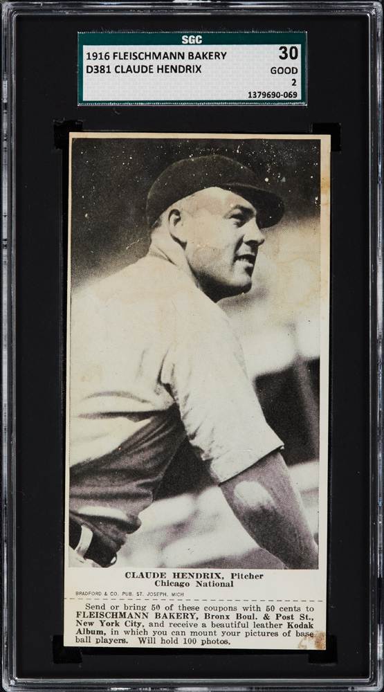 1916 Fleischmann Bakery D381 Claude Hendrix, Pitcher, Chicago National SGC 30
