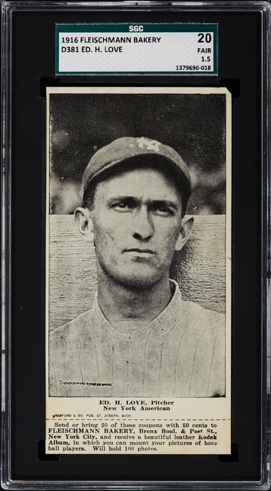 1916 Fleischmann Bakery D381 Ed. H. Love, Pitcher, New York American SGC 20