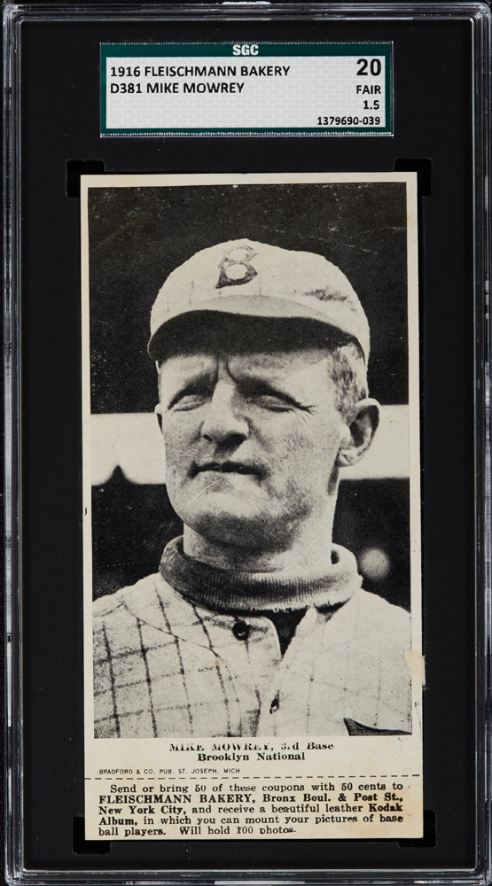 1916 Fleischmann Bakery D381 Mike Mowrey, 3rd Base, Brooklyn National SGC 20