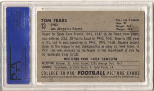 1952 Bowman Large #13 Tom Fears back