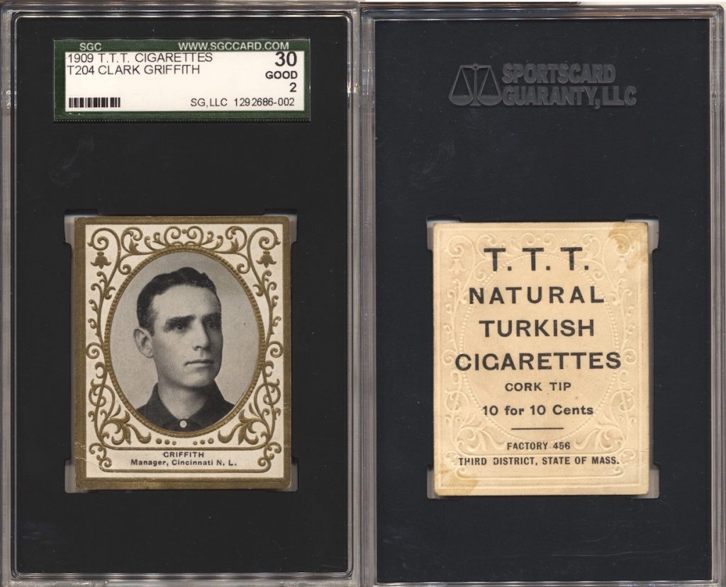 1909 T204 Griffith (SGC 30) with T.T.T. Turkish Cigarettes back