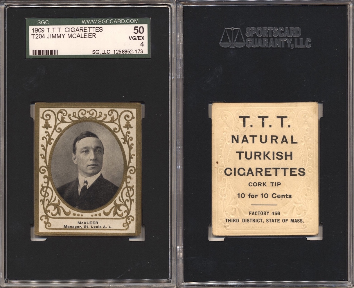1909 T204 McAleer (SGC 50) with T.T.T. Turkish Cigarettes back