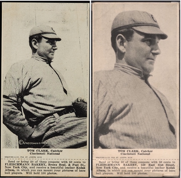 1916 Fleischmann Bakery D381 Tom Clark [Clarke] - both variations