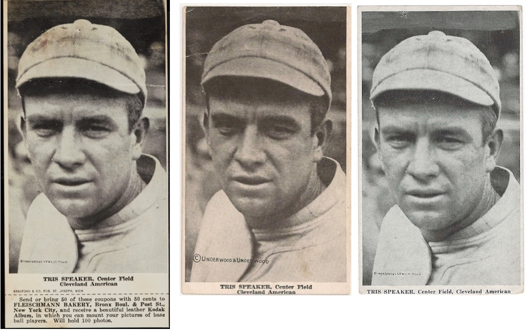 1916 D381 Fleischmann and Ferguson Bakeries Tris Speaker - all 3 variations