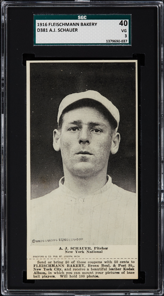 "1916 D381 Fleischmann Bakery A.J. (""Rube"") Schauer New York Giants"