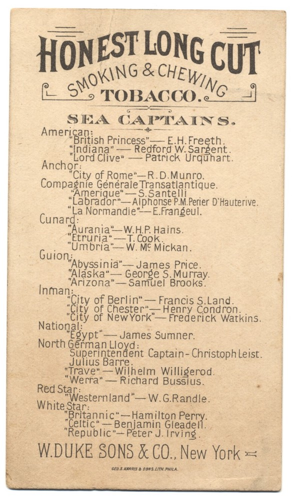 1887 W. Duke Sons & Co. Honest Long Cut N127 Sea Captains back