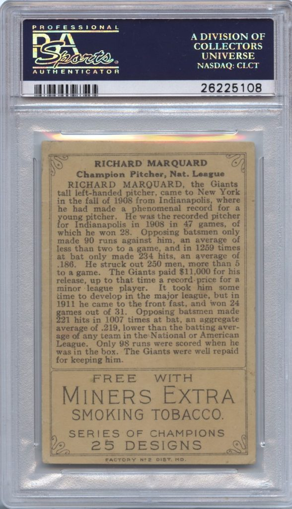 1912 T227 Miner's Extra Rube Marquard (back)