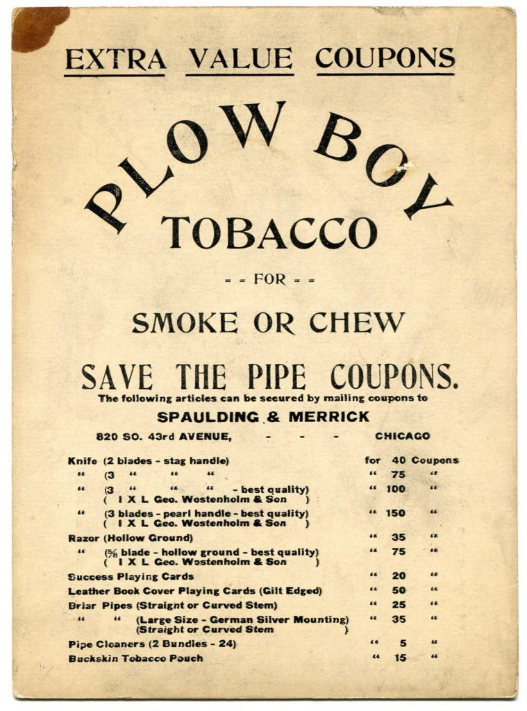 Spaulding & Merrick Plow Boy Tobacco long cut baseball full ad back