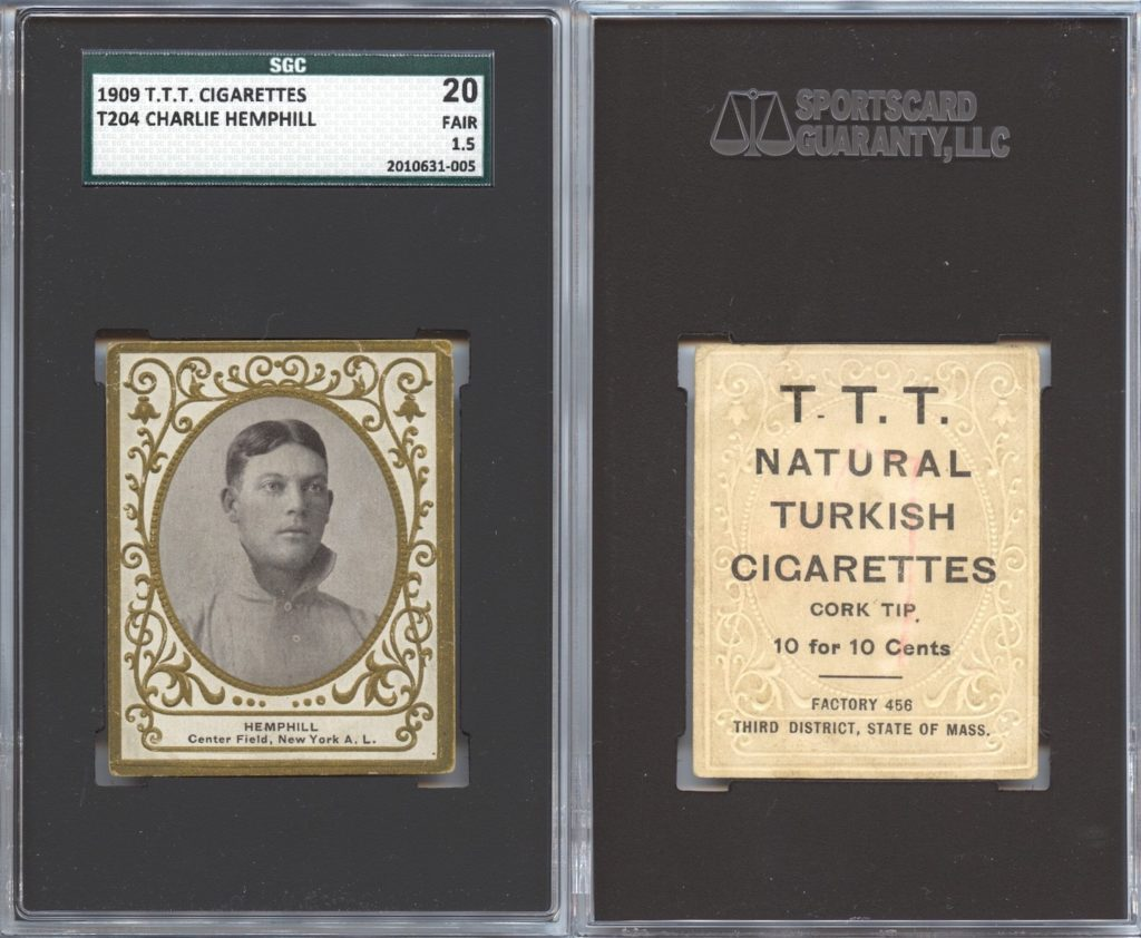 1909 T204 T.T.T. Turkish Cigarettes Charlie Hemphill (front and back)