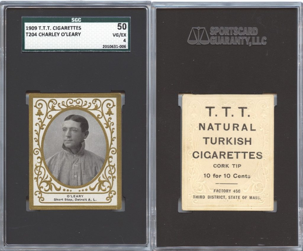 1909 T204 T.T.T. Turkish Cigarettes Charley O'Leary (front and back)