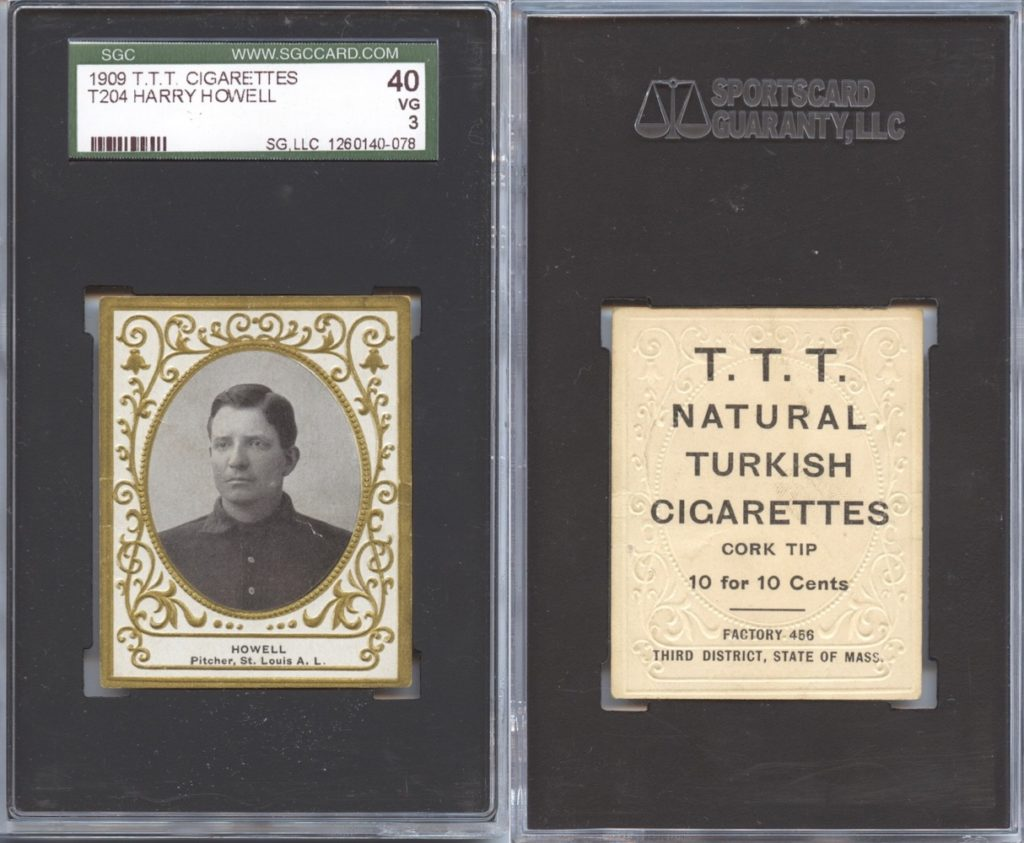 1909 T204 Harry Howell with T.T.T. Turkish Cigarettes back