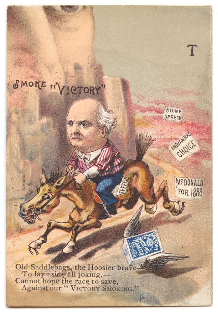 1888 Victory Tobacco N291 Presidential Puzzle Cards. Senator Joseph McDonald of Indiana.