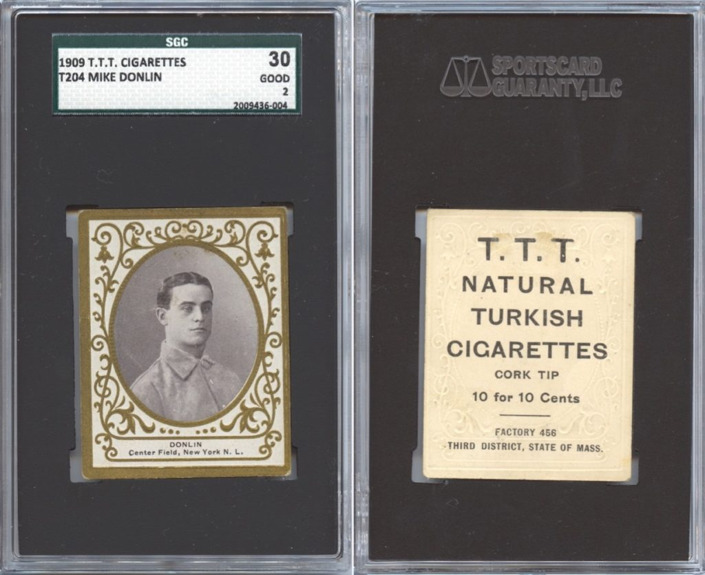 1909 T204 Donlin with T.T.T. Turkish Cigarettes back