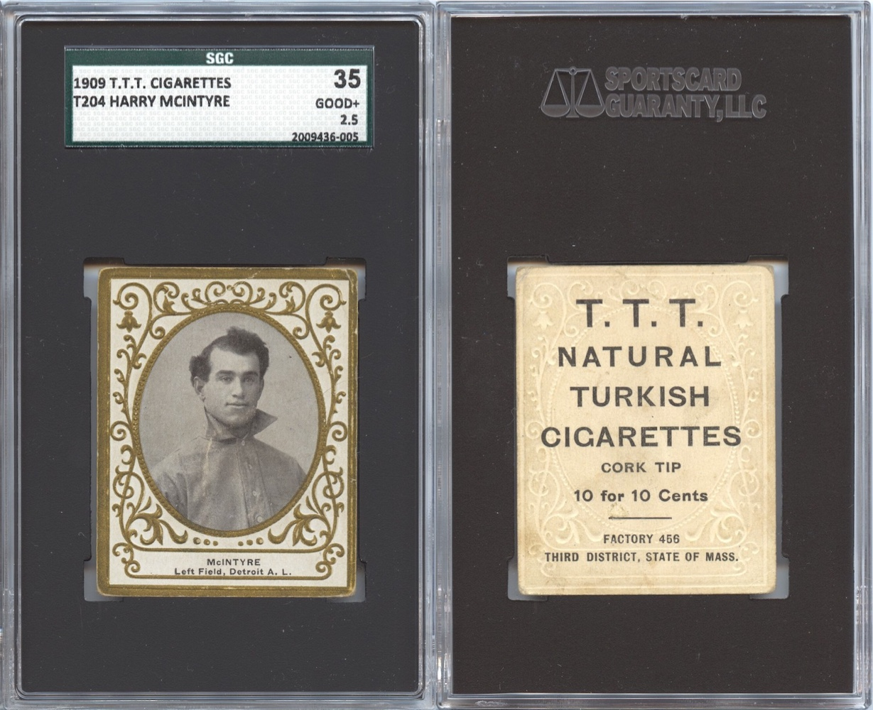 1909 T204 McIntyre with T.T.T. Turkish Cigarettes back