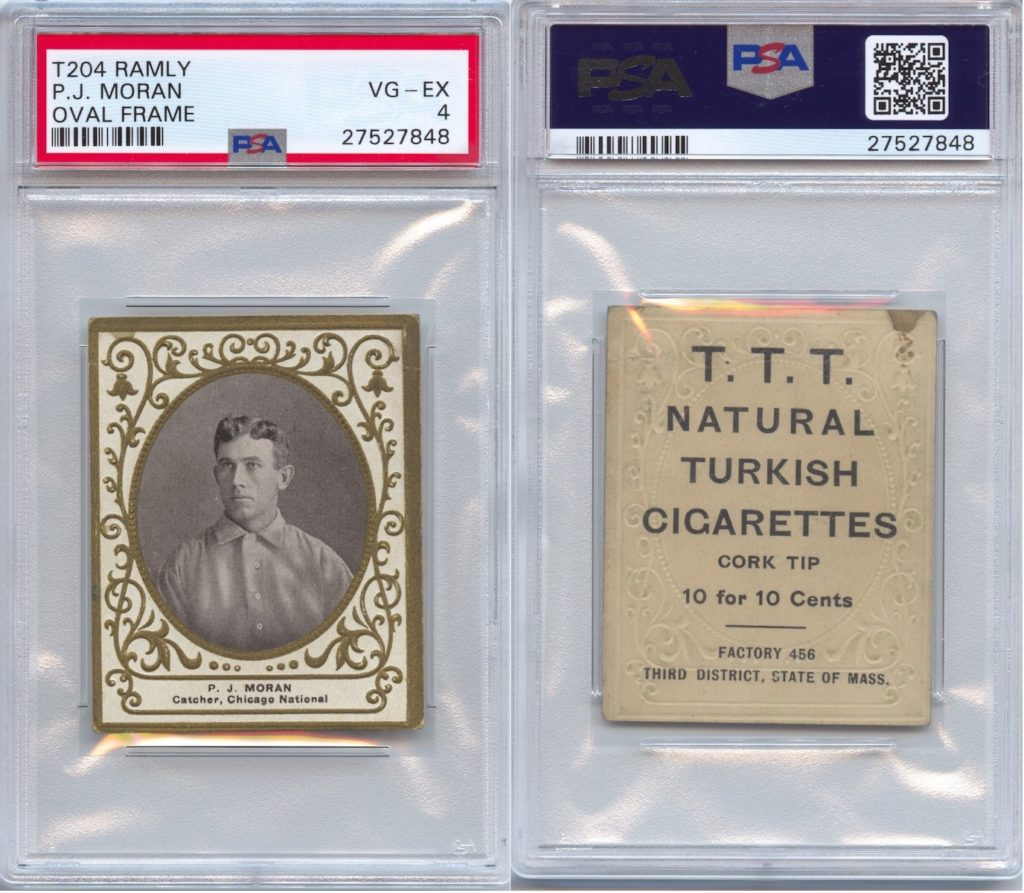 1909 T204 Pat Moran with T.T.T. Turkish Cigarettes back